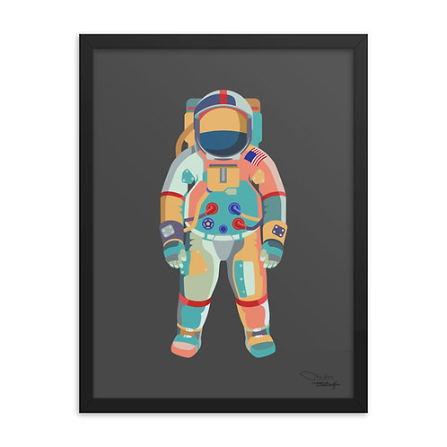 Astronaut - Framed Print (grey)