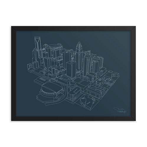 Charlotte Skyline Lines - Framed Print