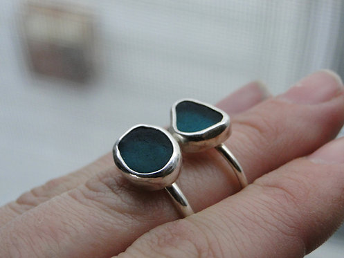 Create Your Own // Deep Teal Sea Glass Ring