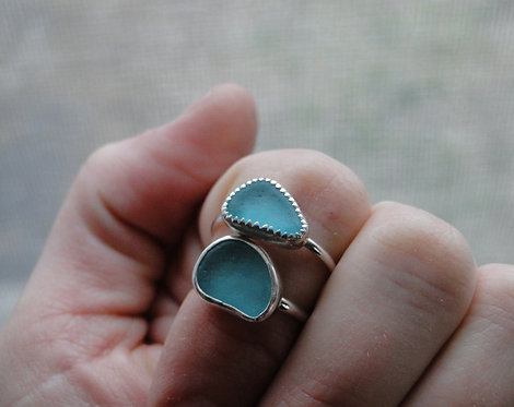 Create Your Own // Teal Green Sea Glass Ring