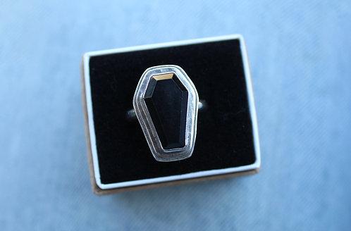 Black Onyx Coffin Ring