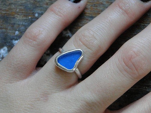 Create Your Own // Cobalt Blue Sea Glass Ring