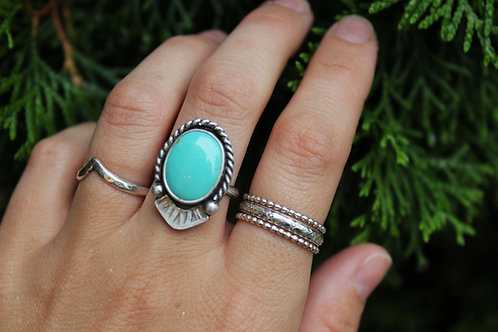 Stamped Turquoise Statement Ring