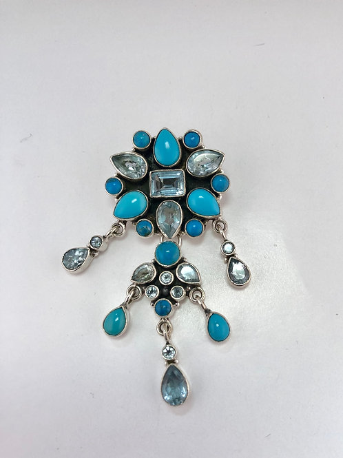 Turquoise, Blue Topaz and sterling silver pendant