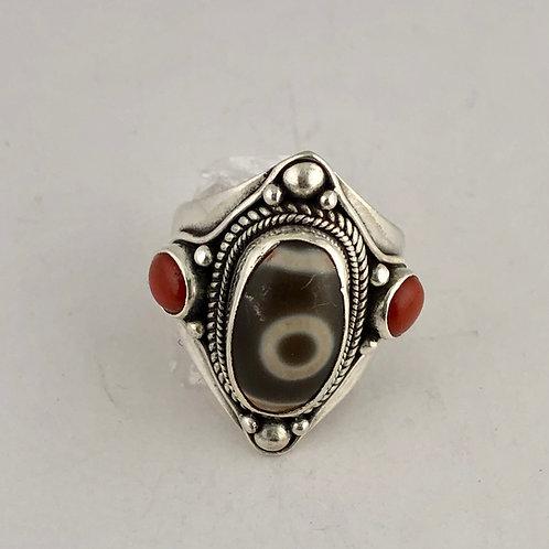 Tibetan Dzi beads and sterling silver Ring
