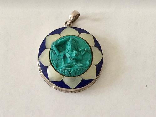 Manjushri  silver pendant.