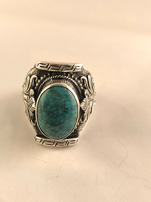 Tibetan turquoise sterling silver ring.