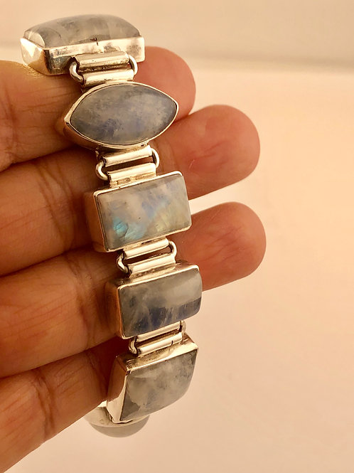 Blue Moonstone and Sterling Silver Bracelet