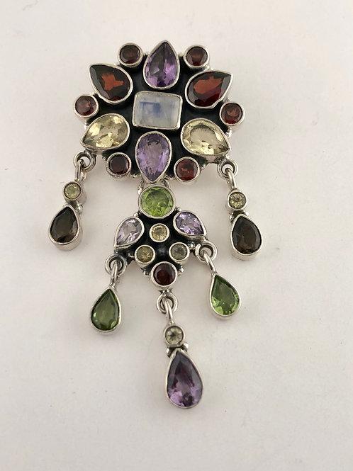 Amethyst, citrine, peridot, and garnet pendant