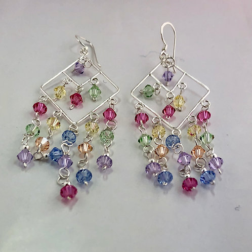 Crystal and sterling silver earrings