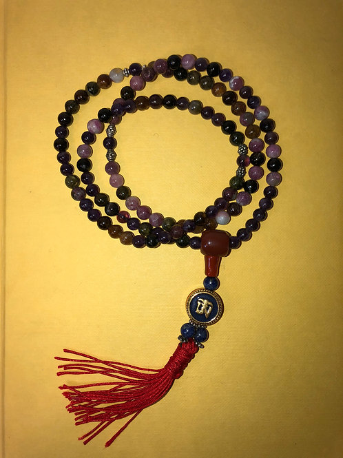 Tourmaline, Lapis and Amethyst mala and AUM pendant