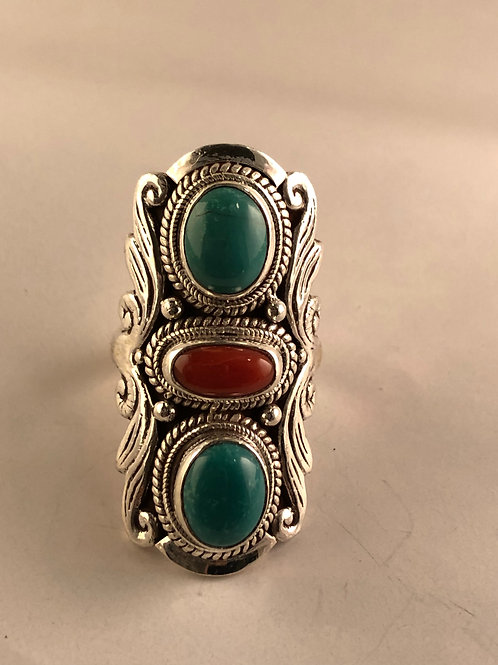 Turquoise, coral and sterling silver ring