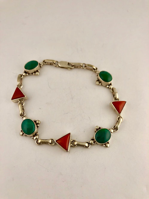 Turquoise and coral  sterling silver bracelet