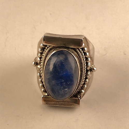 Blue Moonstone and Sterling Silver Ring