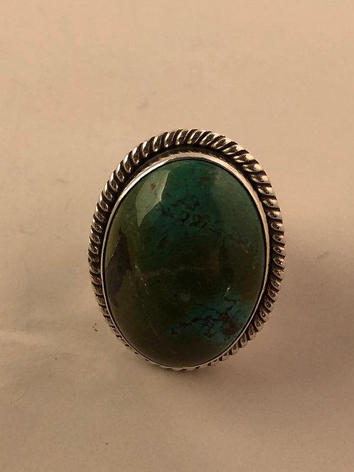 Tibetan turquoise sterling silver ring.