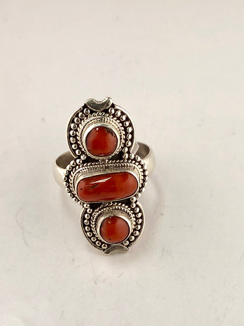 Genuine sea coral and sterling silver ring