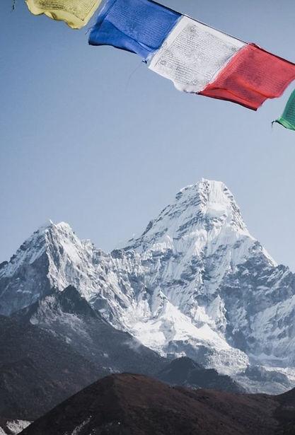 Himalayan mountain range with prayer flag
