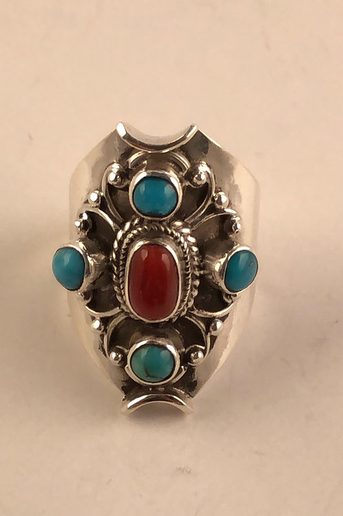Sterling Silver turquoise and Coral Ring