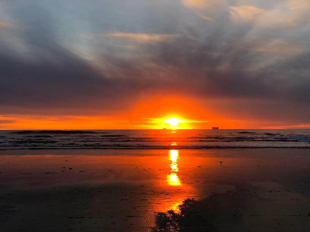 sunset at ocean beach, CA