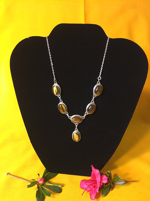 Tiger Eye Silver Necklace