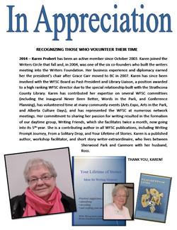WFSC Appreciation Karen Probert 2014