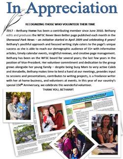 WFSC Appreciation Bethany Horne 2017