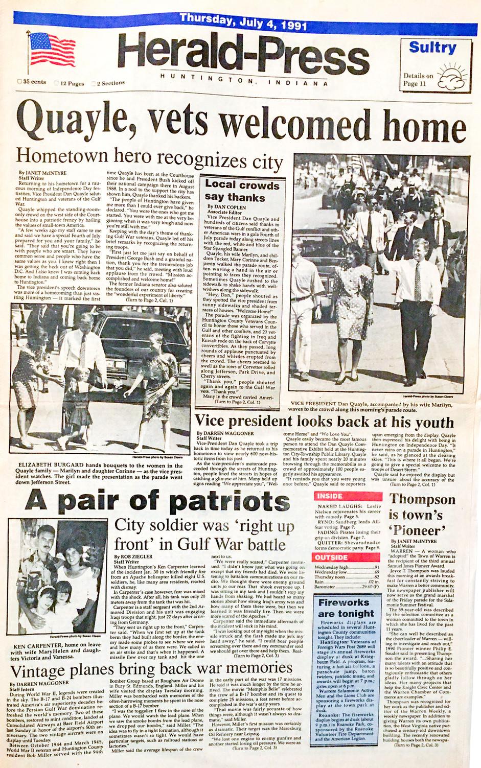 Quayle 1991 visit