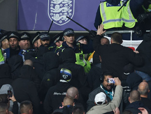 Hungary fans clash with police during England's World Cup qualifier at Wembley Stadium