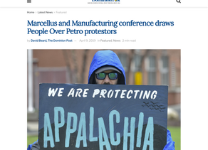 Morgantown, WV news coverage of People Over Petro protest at WV Manufacture's Association Conference