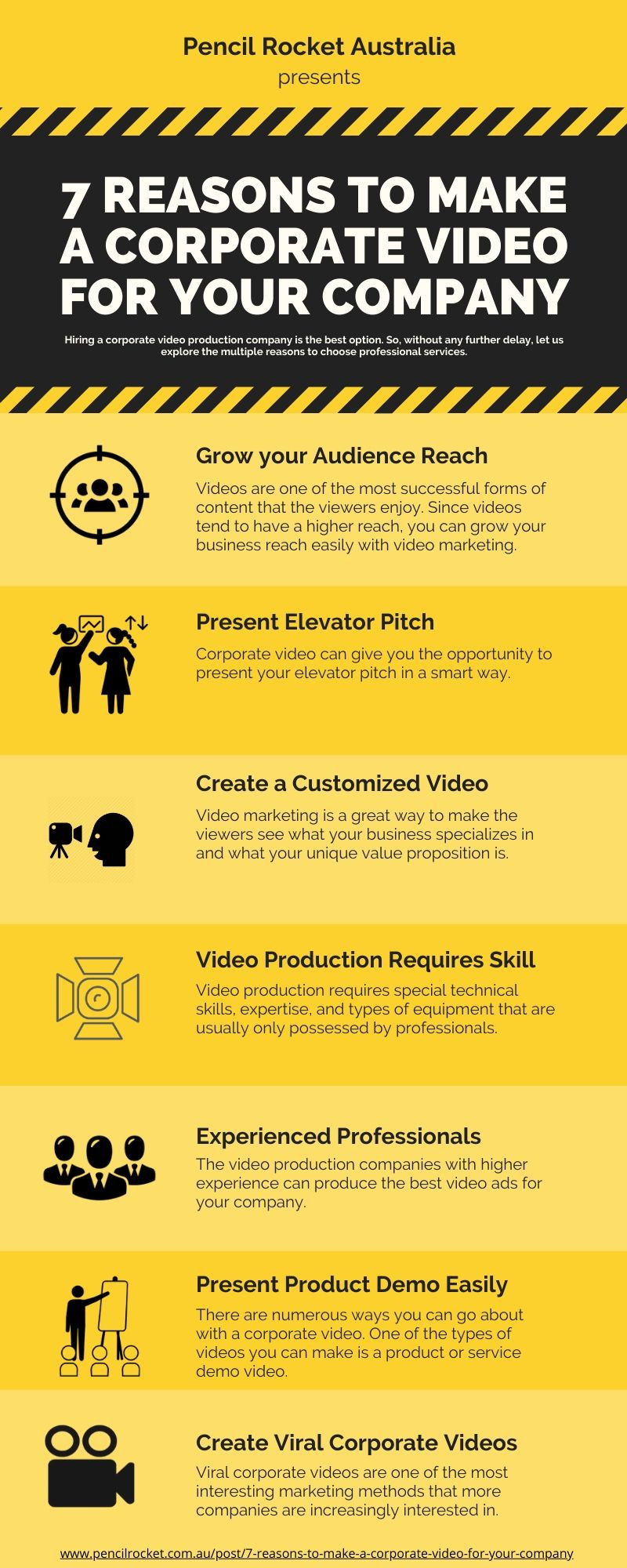 7 reasons to make a corporate video for your company infographics