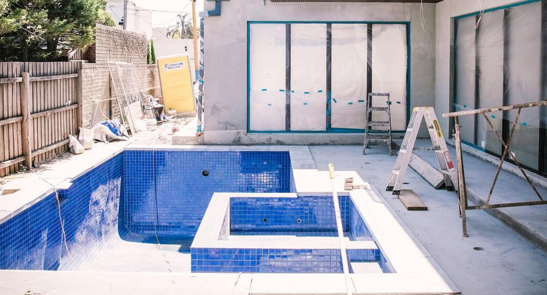 Unfinished pool at brighton beach house