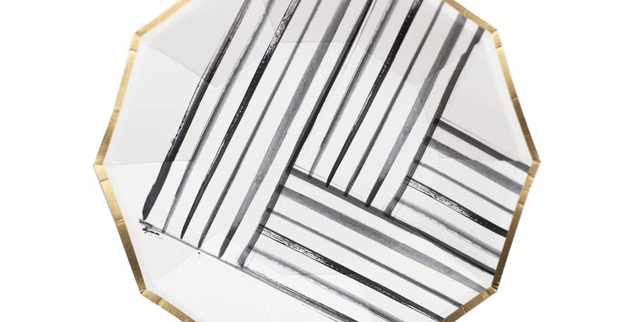 Rebelle - Black and White Brush Strokes Small Paper Plates - Harlow & Grey
