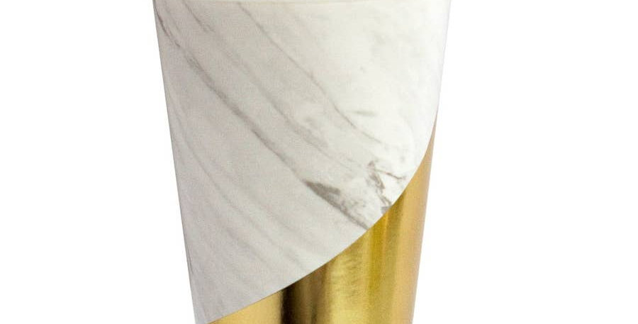 Blanc - White Marble Colorblock Paper Cups - Harlow & Grey