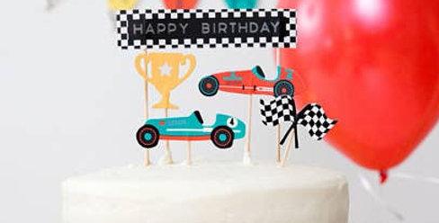 Vintage Race Car - Cupcake Toppers - Merrilulu