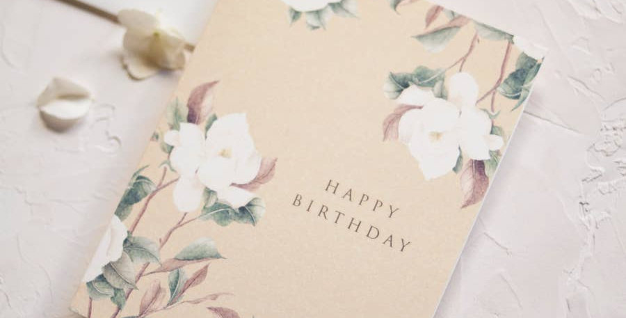 Happy Birthday Greeting Card with Watercolor Magnolia - Seniman Calligraphy