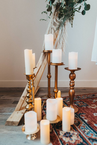 Gold Candle holders and battery operated Candles