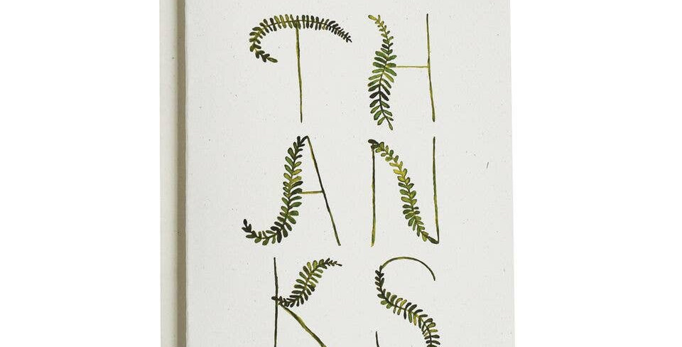 Fronds Thank You Cards, Boxed Set Of 8
