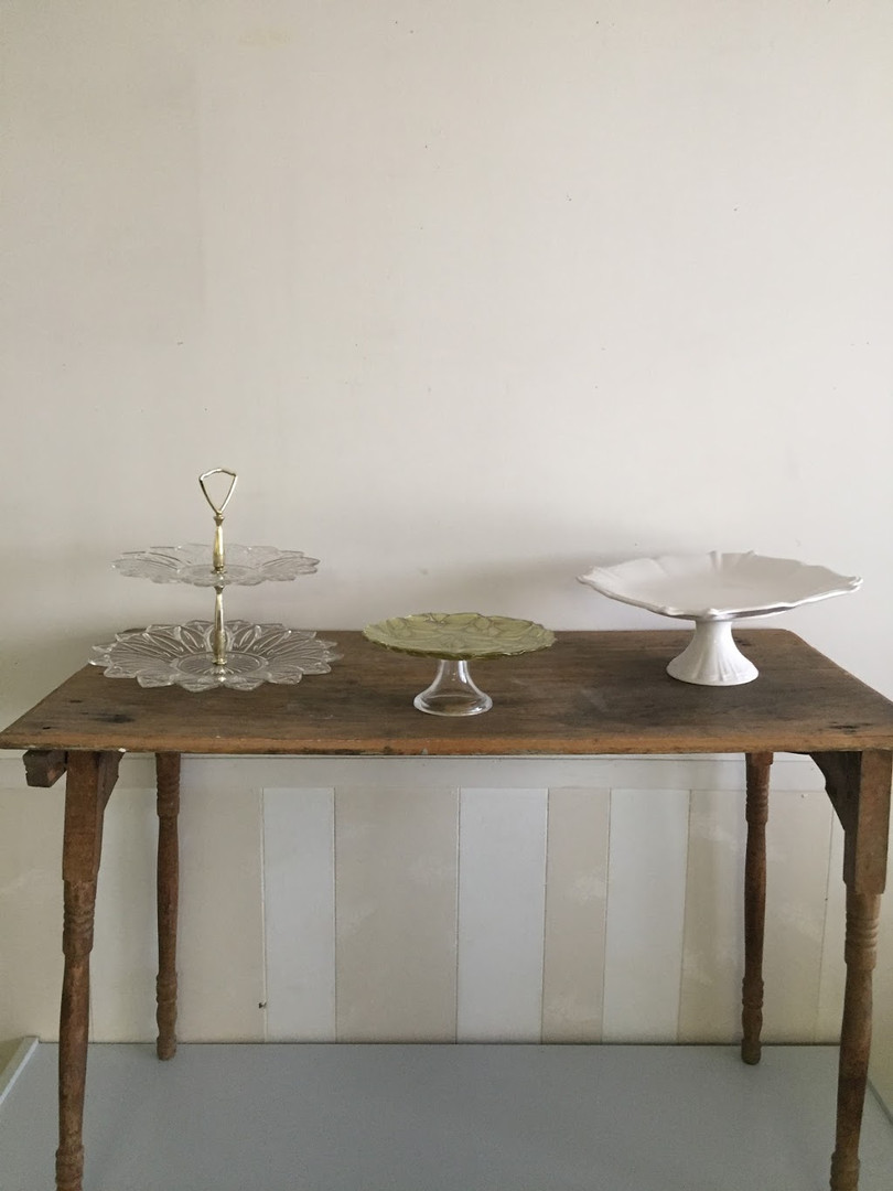 Assorted cake plates and platters