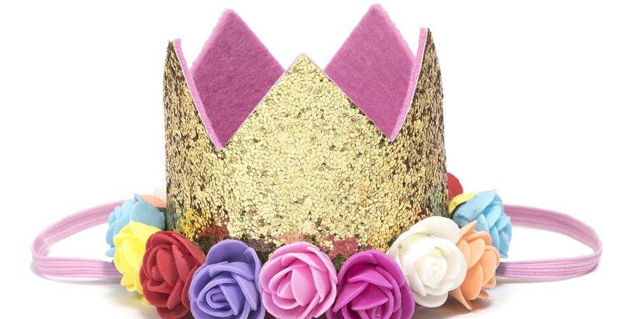Gold Rainbow Flower Crown - Sweet Wink