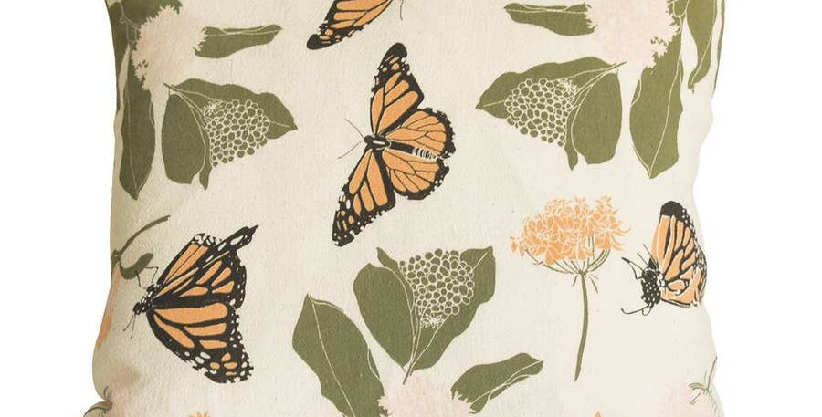 Monarchs + Milkweeds Pillow With Faux Down Insert - June & December