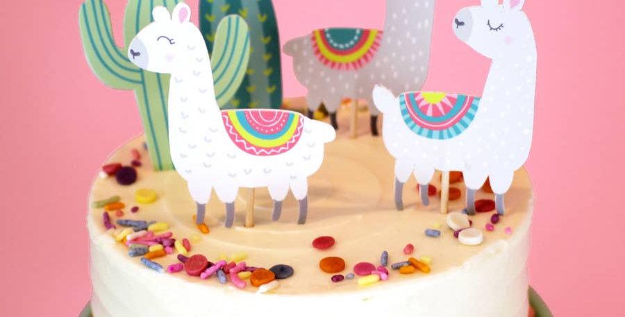Llama and Cactus - Cupcake Toppers - Merrilulu