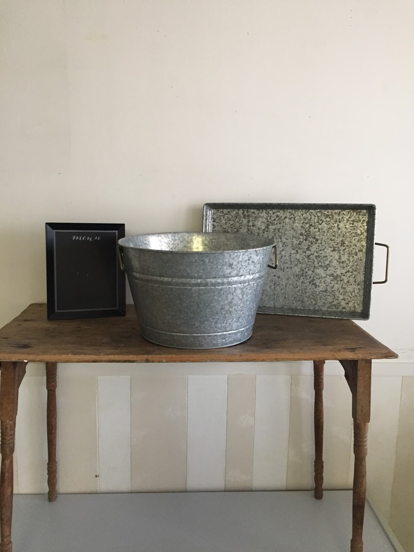 Metal Buckets, trays, assorted signs