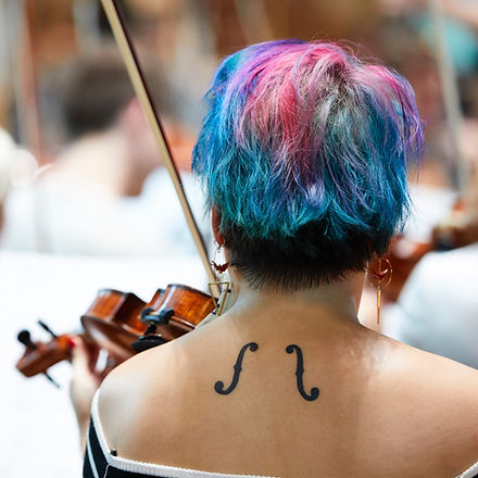 classical music for the london symphony orchestra, woman playing violin, music tattoo