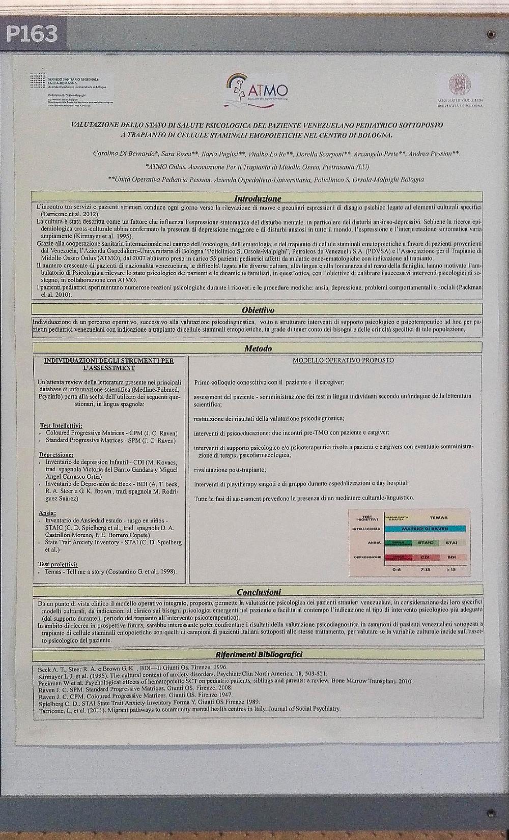 Il poster che abbiamo presentato al XLIII Congresso di AIEOP