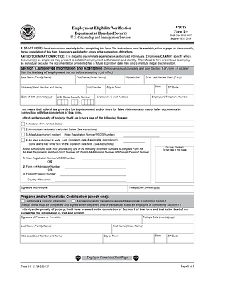 Employee I9 Form