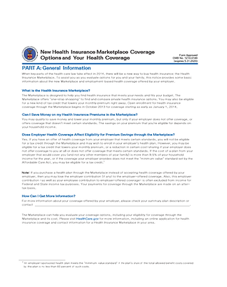 Employee Health Care Notification Form