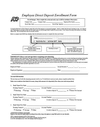 Direct Deposit Change Form