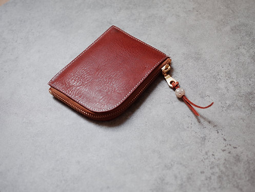 Trade beads L Zip Wallet - DK Brown