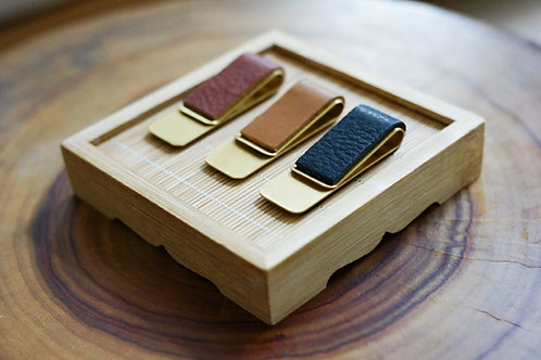 Brass Money Clip - Leather