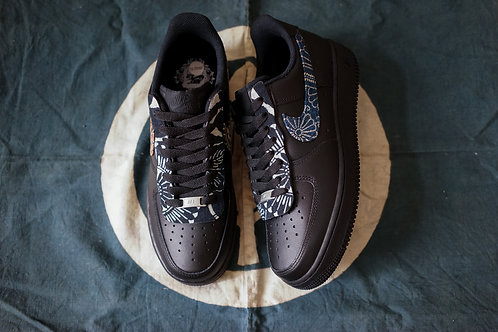 Nike Air Force 1 BLK- VTG Kofu Set With Swoosh and Lacecover